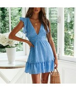 New blue sexy V neck top ruffled sleeve women short dress spring summer ... - $28.00