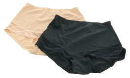 Rhonda Shear 2Pc Lace Trim Brief Black Nude L NEW 711-736 - $11.86