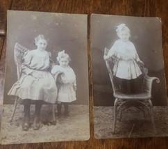 2 Vintage Black & White Photos 1920's postcard photos Mom and daughter o... - $9.50
