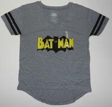 DC Comics Batman Classic TV Series Logo Junior V Neck Varsity Shirt Gray New  - $12.99