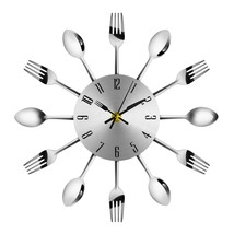 Novel Stainless Steel Knife Fork Spoon Analog Wall(SILVER) - $13.17