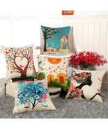 """18x18"""" Home Decor Sofa Chair Seat Cushion Cover Printed Cotton Linen Pil... - $4.65"""