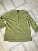 Talbot's Petites Green Cable 3/4 Sleeve 100% Pima Cotton Cardigan  - $24.99