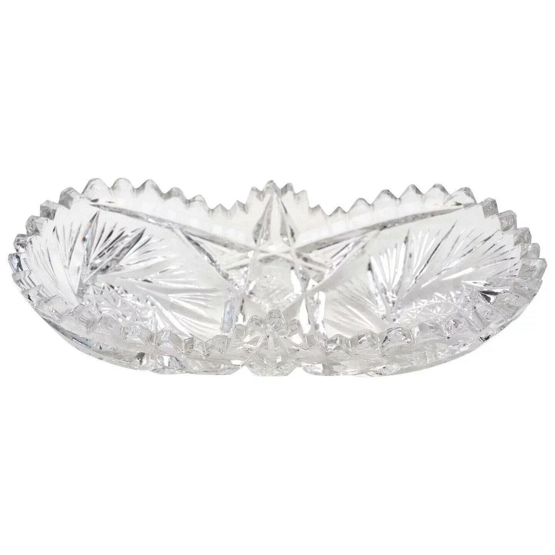 American Brilliant Period Clear Cut Glass Relish Butter Candy Multi Purpose Dish - $47.99