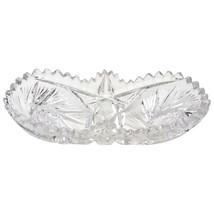 American Brilliant Period Clear Cut Glass Relish Butter Candy Multi Purp... - $47.99