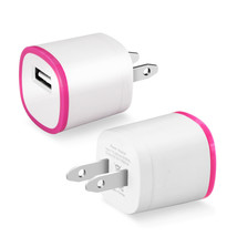 REIKO 1 AMP DUAL COLOR PORTABLE USB TRAVEL ADAPTER CHARGER IN HOT PINK W... - $9.95