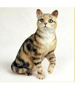 SHORTHAIRED BROWN TABBY CAT Figurine Statue Hand Painted Resin Gift - $19.99
