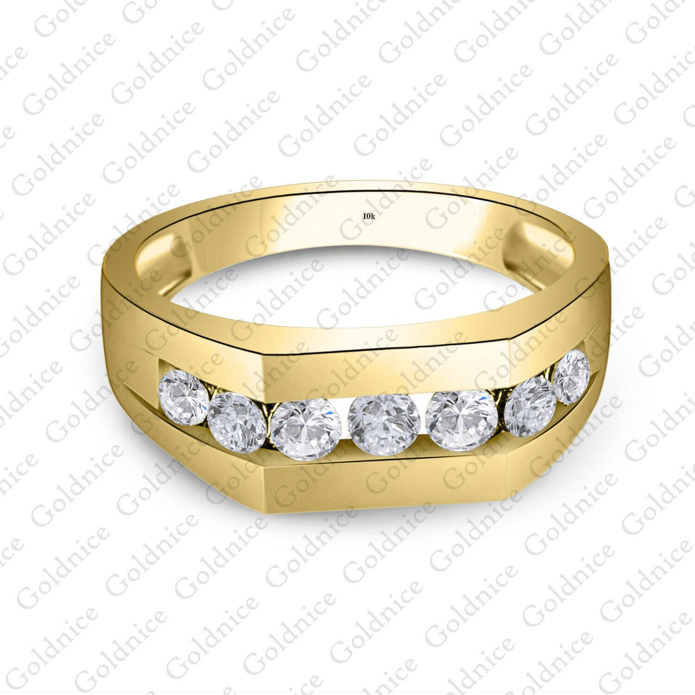 Men's Round Sim Diamond Wedding Ring Engagement Pinky Band 14K Yellow Gold FN - $92.99