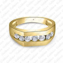 Men's Round Sim Diamond Wedding Ring Engagement Pinky Band 14K Yellow Gold FN - £74.66 GBP