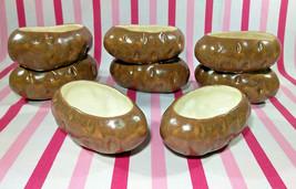 Fantastic 8pc Vintage 1970's Baked Potato Bowls Figural Ceramic Tater Se... - $38.00