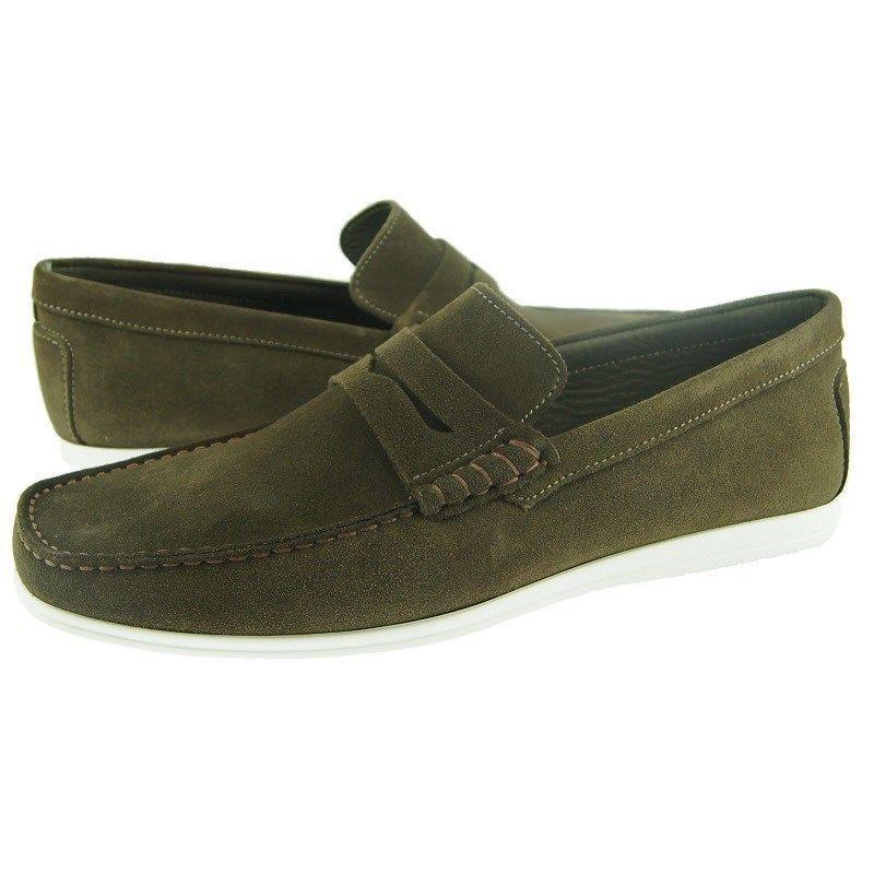 Apron Toe Green Color Genuine Leather Classical Men Moccasin Loafer SlipOn Shoes