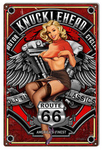 "Route 66 Motorcycle Pin Up Girl By Steve McDonald Sign 12""x18"" - $21.78"