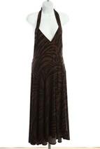 Michael Kors Long Dress Halter Sz 8 Black and Brown Animal Print B69 - $55.82