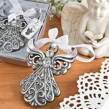 1 Silver Angel Shimmering Ornament Antique Finish Christmas Wedding Favo... - $10.87