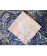 2 VINTAGE COTTON HANDKERCHIEFS W/BLUE EMBROIDERY CUT-OUT DESIGN SCALLOP... - $6.49