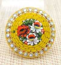 Italy Gold Toned Micro Mosaic Floral Flowers Glass Pin Brooch Yellow Vin... - $39.60