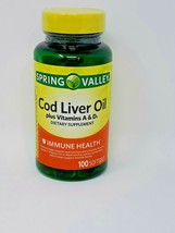 Spring Valley Cod Liver Oil Plus Vitamin A & D Softgels, 100 Count - $8.40