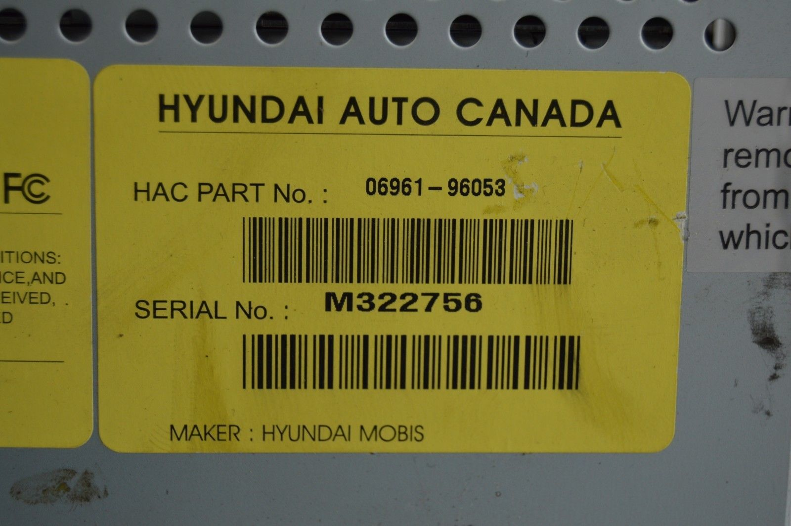 2007-2010 HYUNDAI ELANTRA RADIO CD PLAYER OEM RADIO 06961-96053 TESTED C54#002