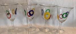 Hand-Blown Murano Millefiori Tall Goblets Wine Glass Colored Circles (se... - $99.99