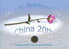 Sixpence Pour Luck 20ème La Chine Anniversaire Mariage Carte - $11.71