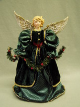 "Angel Christmas Tree Topper green dress gold braid holding garland 15.5""... - $14.25"