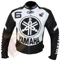 YAMAHA 6 BLACK MOTORCYCLE MOTORBIKE BIKERS ARMOURED COWHIDE LEATHER JACKET - $194.99