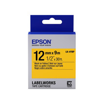 12mm Black on Yellow - Epson LABELWORKS LK-4YBP Tape Cartridges (Pack of 4) - $74.99