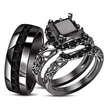 Bride & Groom Trio Wedding Ring Set Black Gold Finish 925 Silver & Free Shipping - $163.99
