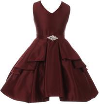 Flower Girl Dress Solid Dull Satin Overlay Burgundy GG 3571 - $39.59+