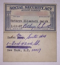 Kate Smith 1937 Signed Social Security Card Personal Estate God Bless Am... - $3,312.45