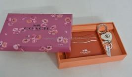 NIB Coach Gift Set Of Card Case+Valet Keyring Red/White Color Leather Gr... - $99.00