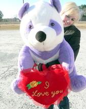 American Made Giant Stuffed Purple Panda Bear 32 inch, Holds I LOVE YOU Heart - $122.20
