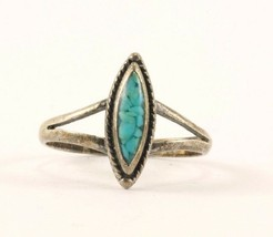 Vintage Small Turquoise Ring 925 Sterling Silver RG 2597 - $198,66 MXN