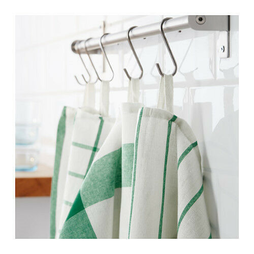 Primary image for KITCHEN DISH TOWELS Set of 4 White Green Cotton ELLY Tea Towel