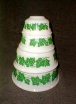 Hazel atlas unused vintage ivy nesting bowls white green 4 bowls - $55.00