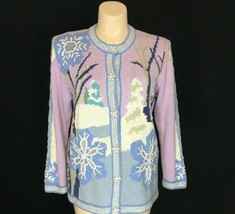 Storybook Knits L Cardigan Sweater Blue Lavender Snowflake Xmas Tree Hea... - $39.95