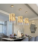 Small Round Gold k9 Crystal Modern Led Chandelier for Living Room Kitche... - $459.99+