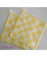 2 Potholders 100% Cotton Crochet Yellow White Checked Set Hot Pads Pot H... - $16.99