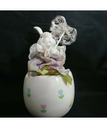 """Enesco Easter Bunny Wind Up Music Box Ceramic Egg plays """"Try to Remember... - $38.65"""