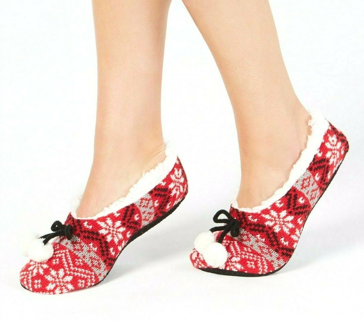 Charter Club Women's Red White Black Fair Isle Slipper Socks With Grippers NWT