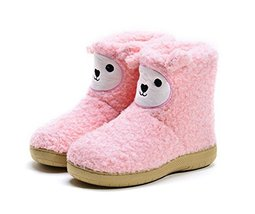 PANDA SUPERSTORE Adorable Pink Bootie Slippers for Womens Sheep Slippers, US 5.5