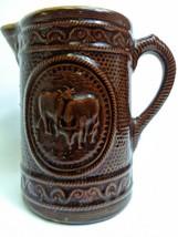 "Brown 8"" Cow Motif Stoneware Salt Glaze Jug Pitcher Rare Antique Primiti... - $98.99"