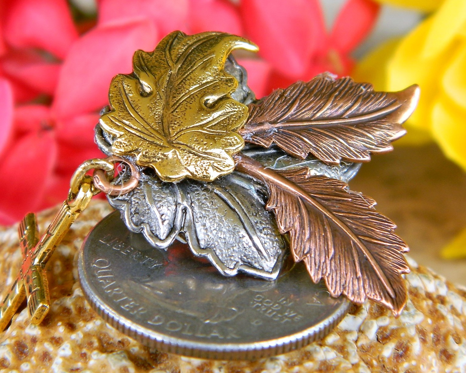 Maple Oak Leaves Cross Brooch Pin Tri Color Textured Metal Figural image 3