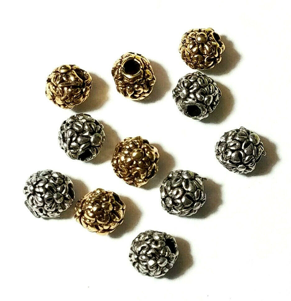 2 - Flowers Floral Round Fine Pewter Beads - 5mm 1.5mm Hole
