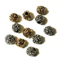 2 - Flowers Floral Round Fine Pewter Beads - 5mm 1.5mm Hole image 1