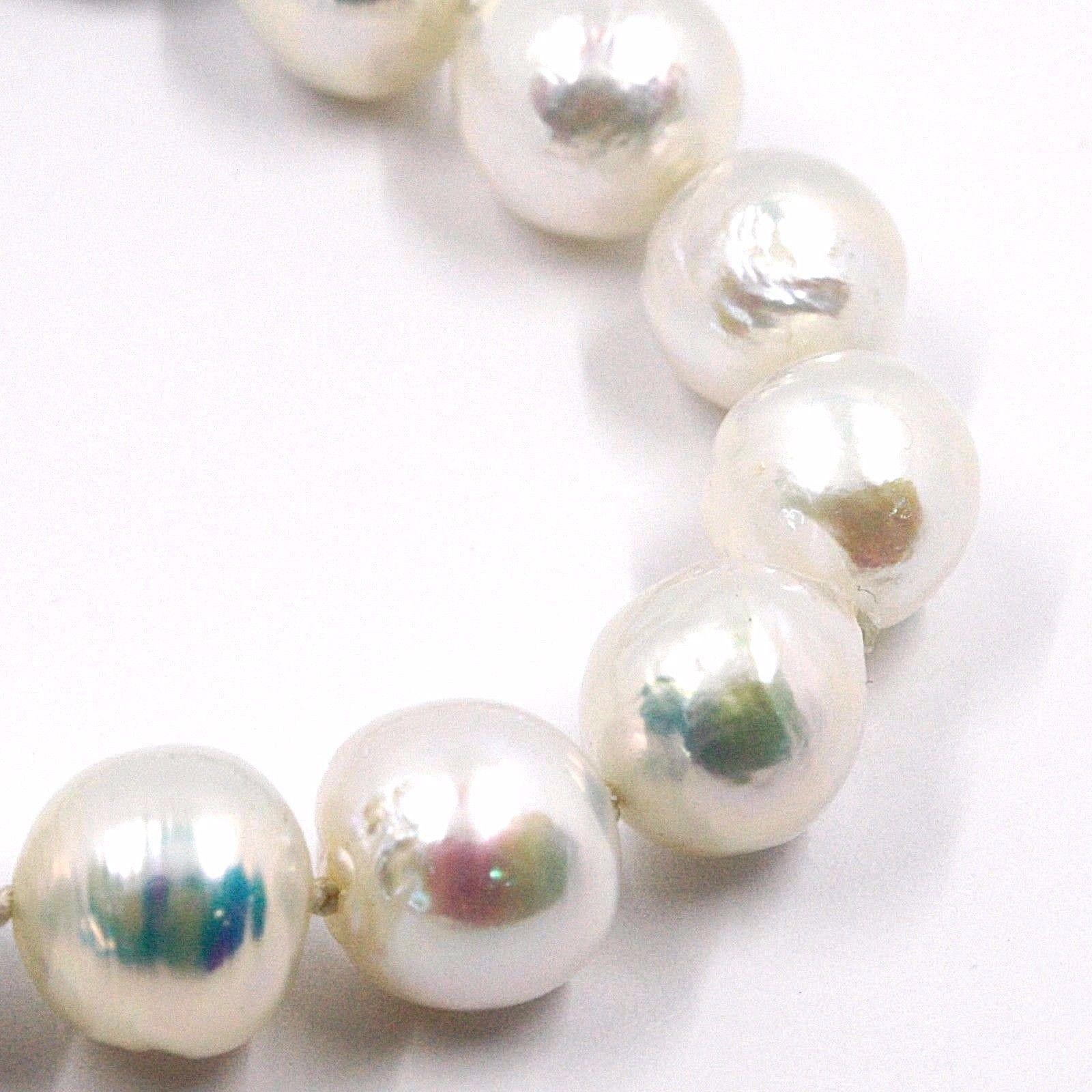 Armband Weißgold 18k, Perlen Groß 13 mm, Weiß, Süßwasser, Barock-Stil