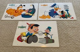 3 Vintage Walt Disney Productions Plastic Covered Placemats Mickey Pluto... - $19.79