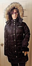 Baby Phat Women's Black Cheetah Lining Long Down Puffer Hooded Coat Size Small  - $49.49