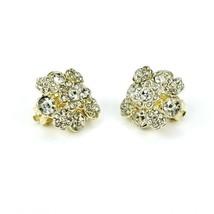 Beautiful Goldtone Clear Rhinestone Snowflake Flower Cluster Clip On Ear... - $17.45