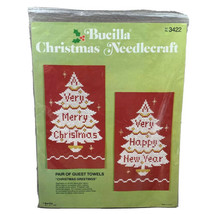 New Bucilla Christmas Kit Christmas Greetings Pair of Guest Towels   - $10.00